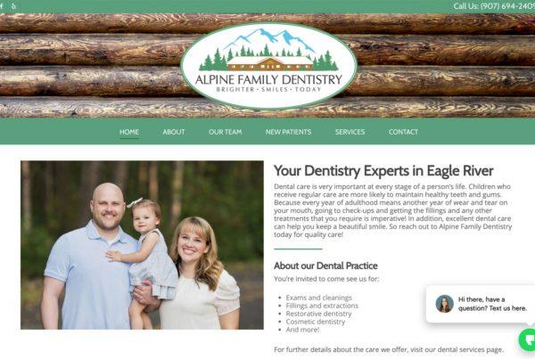 alpine family dentistry, dentist website design