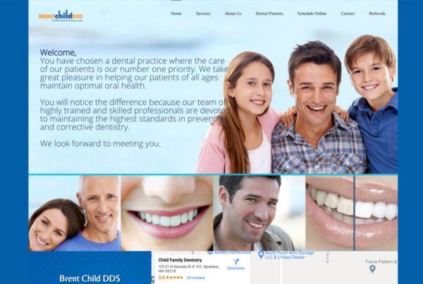 brent child dds, dentist website design