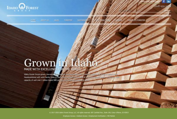 idfg, idaho forest group, website design