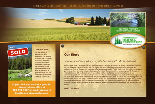 northwest rural properties, real estate website design, property management website design