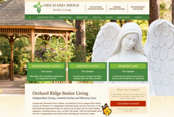 orchard ridge, senior center, website design