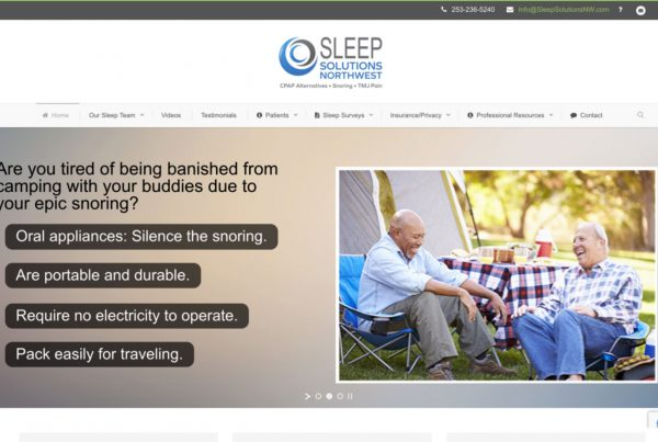 sleep solutions northwest, website design