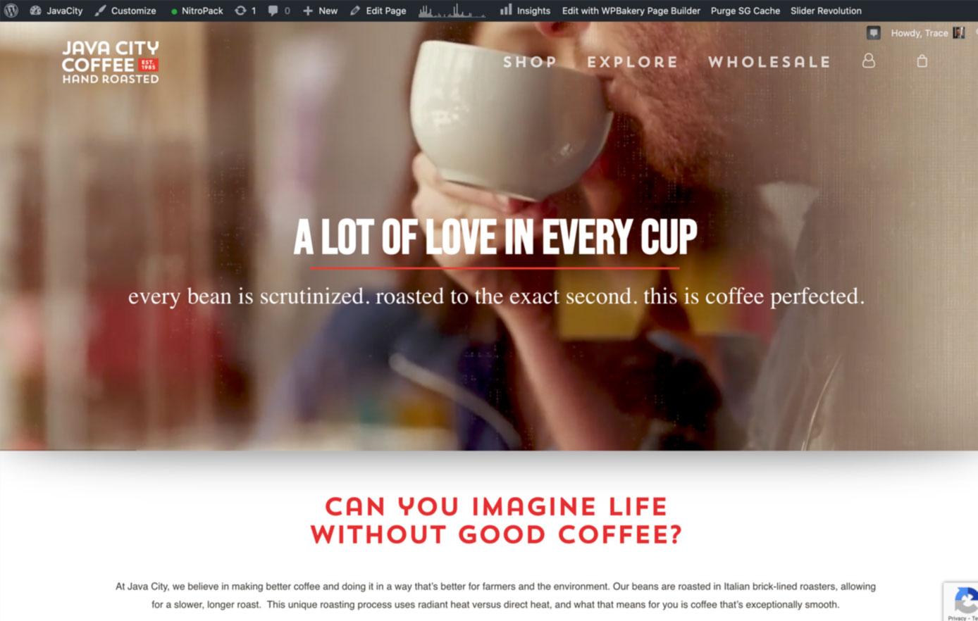 java city coffee, website design, ecommerce website design, online sales