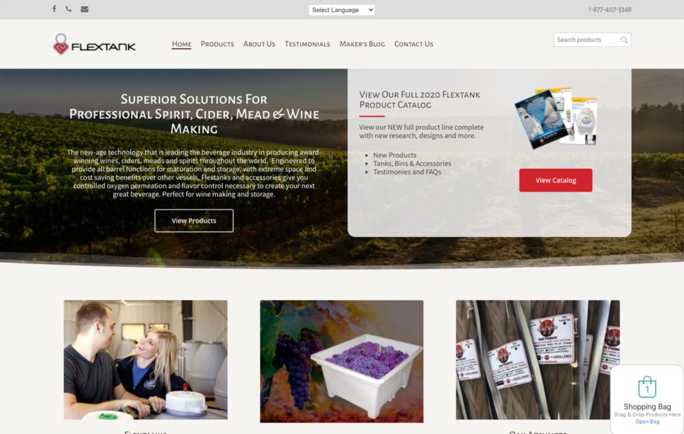website design, ecommerce website, flextank,