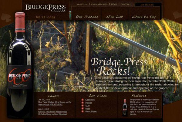 bridgepress cellars, website design
