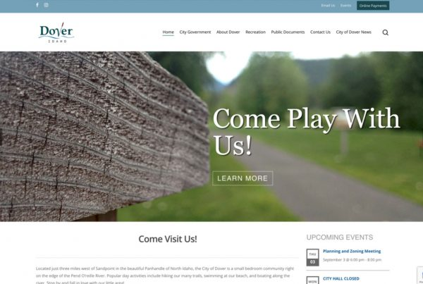 dover idaho, website design