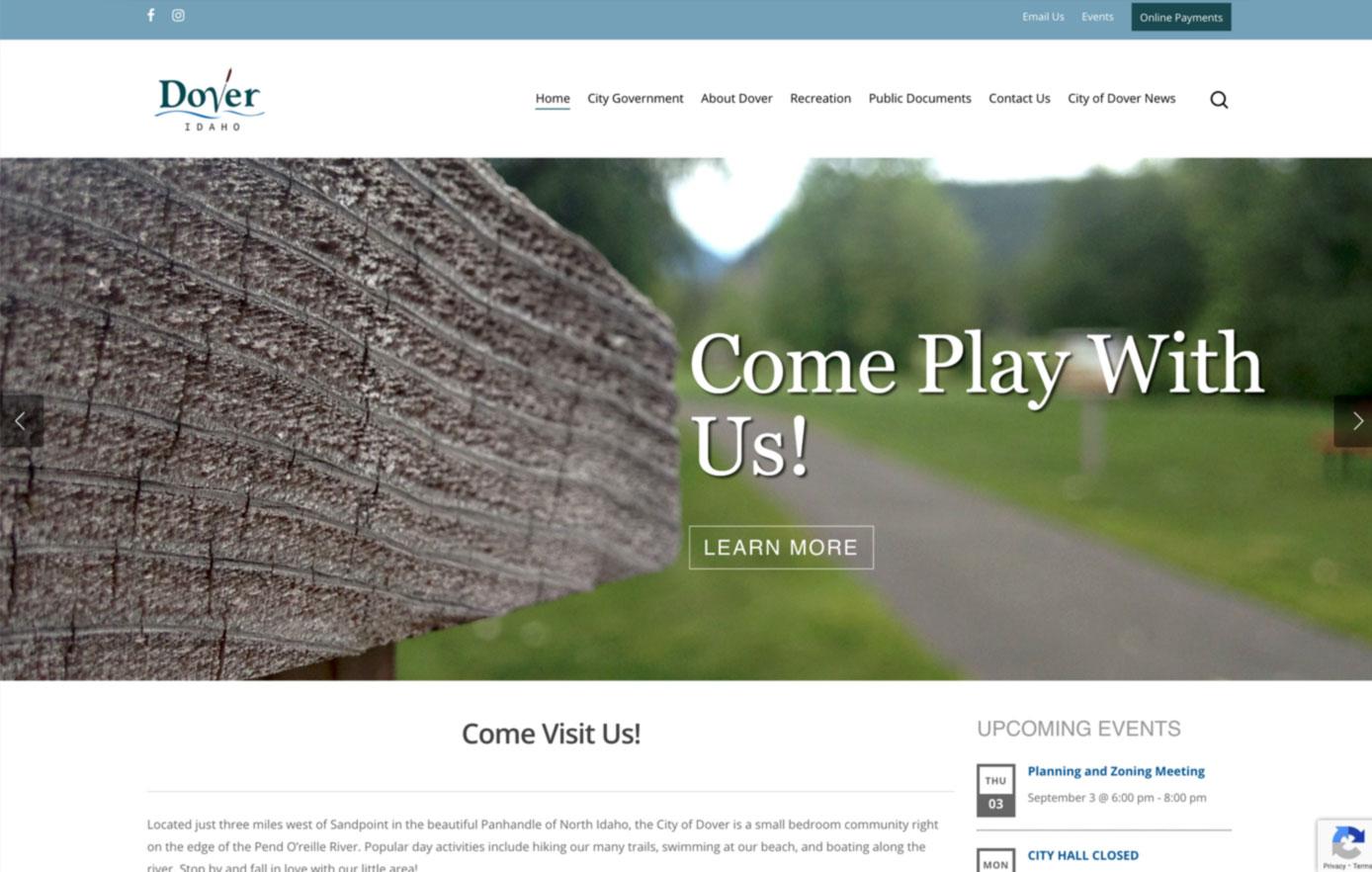 dover idaho, website design