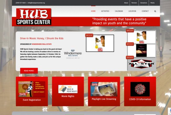 hub sports center, website design