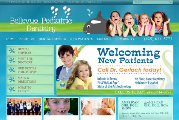 bellevue pediatric dentistry, website design