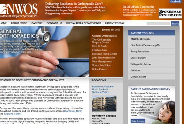 northwest orthopedic specialists, website design
