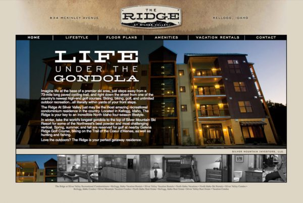 the ridge at silver valley, website design