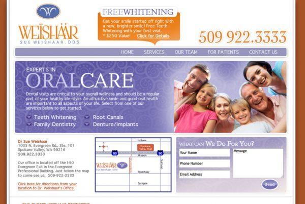 weishaar dds, website design, dentist webside development